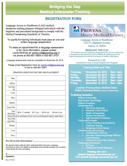 Medical Interpreter Training Registration Form Companeros En Salud