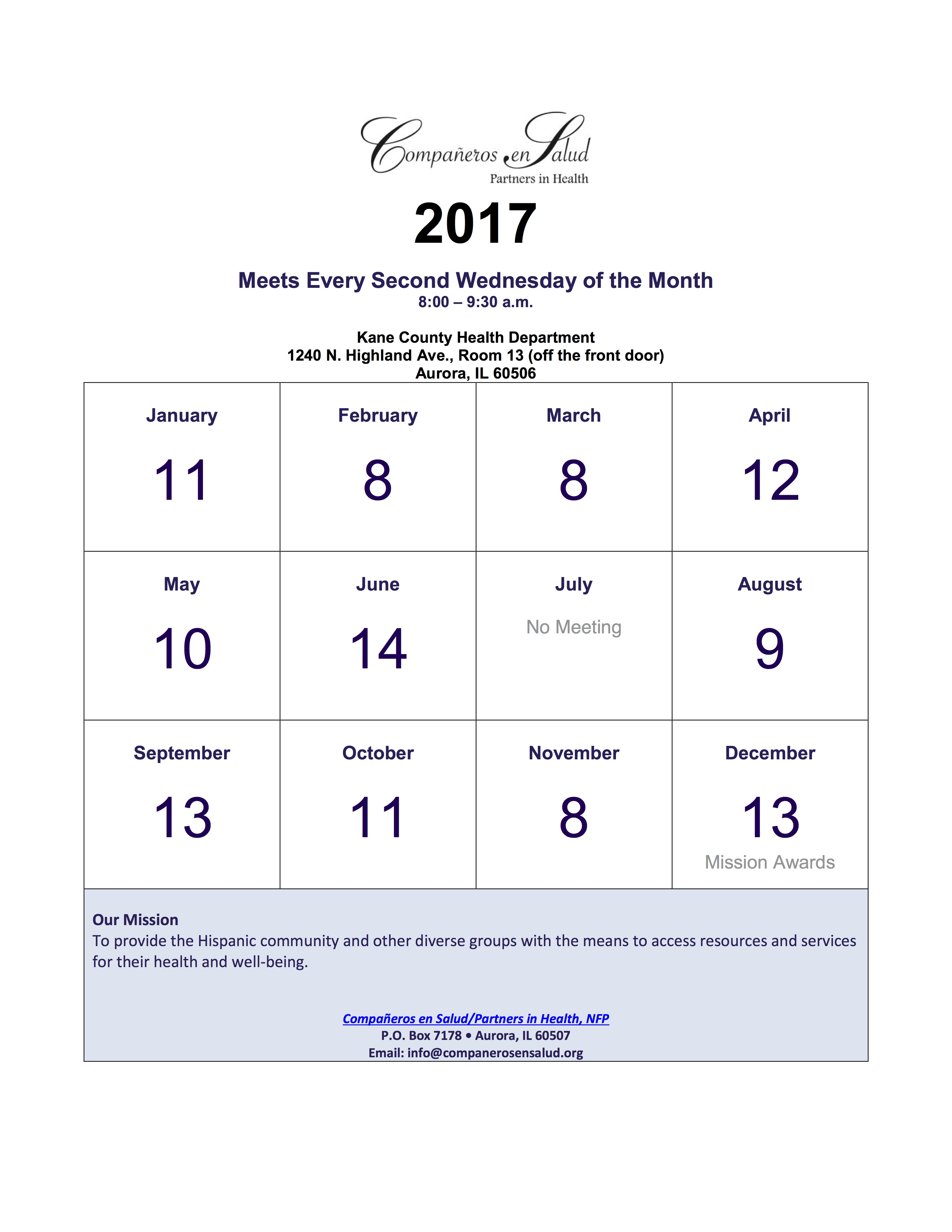 2017 Yearly Schedule